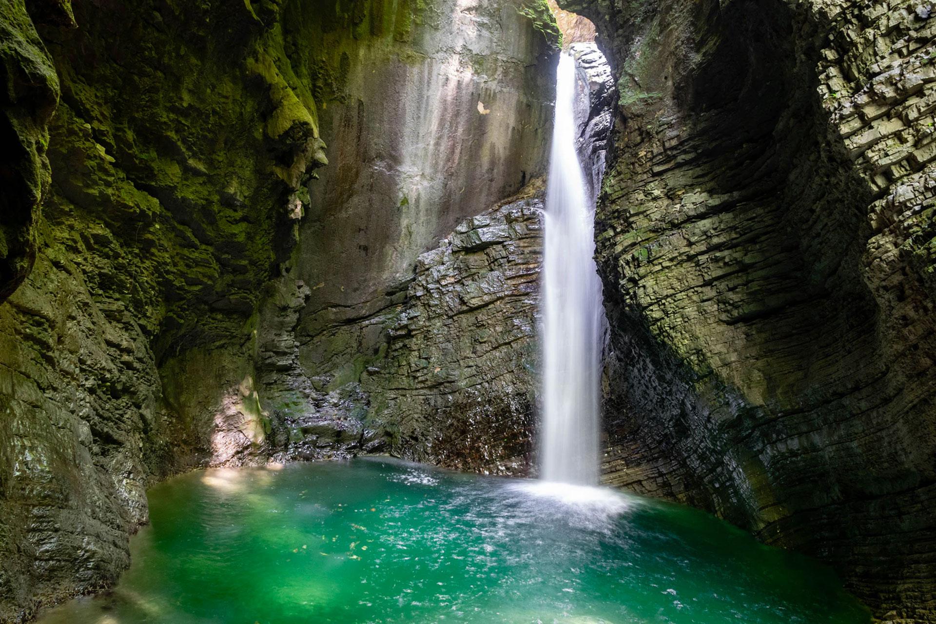 Slap Kozjak waterval in Slovenië